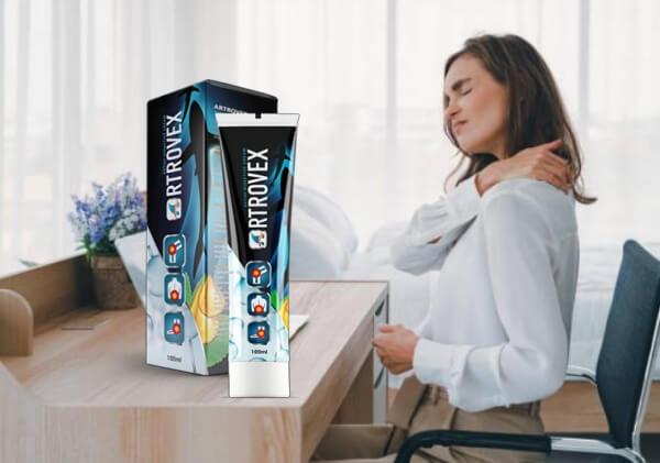 artrovex, mulher na mesa, dor nas articulações