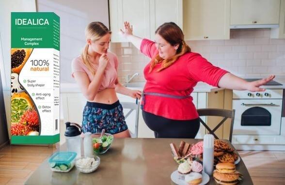 mulher magra e mulher com excesso de peso
